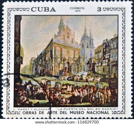"CUBA - CIRCA 1970: A stamp printed in cuba dedicated to works of art from the National Museum, shows ""Puerta del Sol in Madrid"" by Paret y Alcazar, circa 1970 - stock photo"