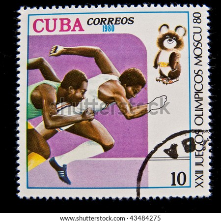 CUBA - CIRCA 1980: A stamp printed in Cuba devoted to the Olympic Games in Moscow (1980) and shows Running, circa 1980. - stock photo