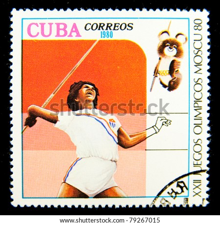 CUBA - CIRCA 1980: A stamp printed in Cuba devoted to the Olympic Games in Moscow (1980) and shows Javelin, circa 1980.