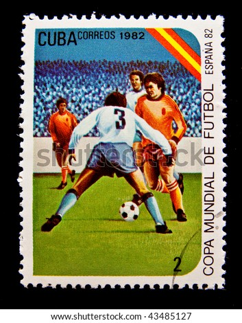 CUBA - CIRCA 1982: A stamp printed in Cuba devoted to the World Cup in Spain (1982) and shows football, circa 1982.