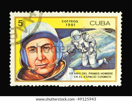 CUBA - CIRCA 1981: A stamp printed in Cuba devoted to twentieth anniversary of first cosmonaut's stay in the open space circa 1981