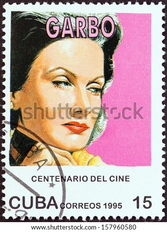 "CUBA - CIRCA 1995: A stamp printed in Cuba from the ""Centenary of Motion Pictures. Designs showing film stars"" issue shows Greta Garbo, circa 1995.  - stock photo"