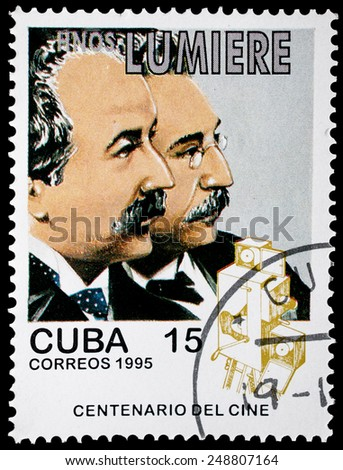 "CUBA - CIRCA 1995: A stamp printed in Cuba from the ""Centenary of Motion Pictures. Designs showing film stars"" issue shows Auguste and Louis Lumiere, circa 1995. - stock photo"
