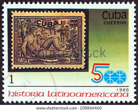 """CUBA - CIRCA 1988: A stamp printed in Cuba from the """"Latin American History (3rd series)"""" issue shows 1944 10c. Discovery of Tobacco stamp, circa 1988.  - stock photo"""