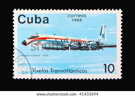 Cuba - circa 1975: A stamp printed in Cuba showing airplane circa 1975