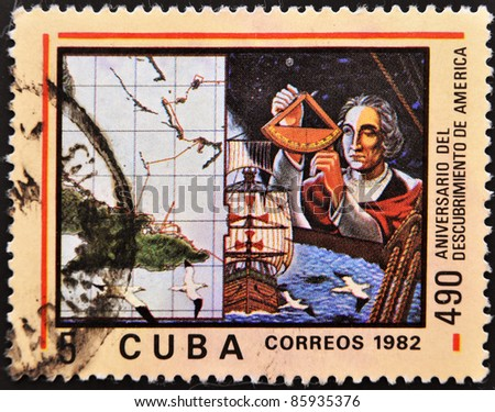 CUBA - CIRCA 1982: A stamp printed in Cuba shown Cristobal Colon in commemoration of the discovery of america