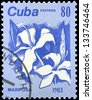 "CUBA - CIRCA 1983: A stamp printed in Cuba shows Butterfly Jasmine Flower, with the same inscription, from the series ""Flowers"", circa 1983 - stock photo"