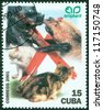 CUBA - CIRCA 2001: A stamp printed in Cuba shows cat and dog, circa 2001 - stock photo