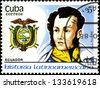 "CUBA - CIRCA 1988: A stamp printed in Cuba, shows coat of arms portrait of A. J. SUCRE, Ecuador, with the same inscription, from the series ""Latin American history"", circa 1988. - stock photo"
