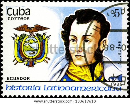 """CUBA - CIRCA 1988: A stamp printed in Cuba, shows coat of arms portrait of A. J. SUCRE, Ecuador, with the same inscription, from the series """"Latin American history"""", circa 1988. - stock photo"""