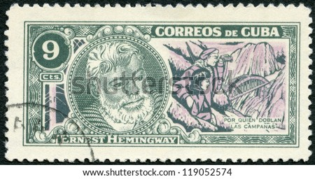 "CUBA - CIRCA 1963: A stamp printed in Cuba shows Ernest Hemingway (1899-1961), Nobel Prize-winner for Literature, ""For Whom the Bell Tolls"", circa 1963 - stock photo"