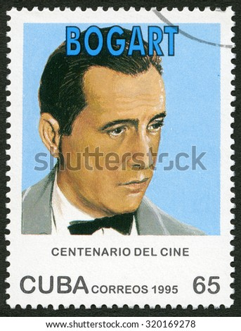 CUBA - CIRCA 1995: A stamp printed in Cuba shows Humphrey DeForest Bogart (1899-1957), series Century Motion Pictures, circa 1995 - stock photo