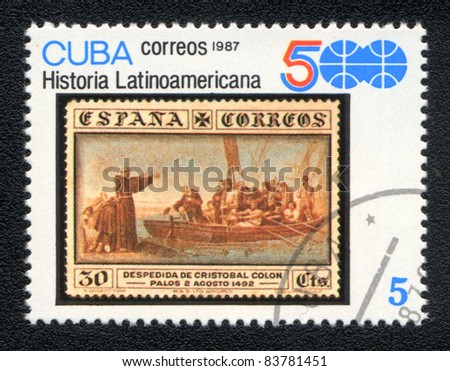 CUBA - CIRCA 1987: A Stamp printed in CUBA shows image of a   , from series Historia Latinoavericana, circa 1987