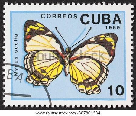 CUBA - CIRCA 1989: A Stamp printed in CUBA shows image of a mynes sestia butterfly, circa 1989 - stock photo