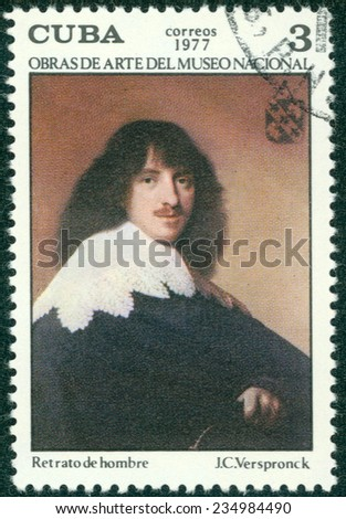 """CUBA - CIRCA 1977: A stamp printed in Cuba shows image of artist J.C.Versponck """"Portrait of the man"""", series, circa 1977 - stock photo"""
