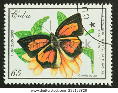 CUBA - CIRCA 2000 : A stamp printed in CUBA shows image of butterfly (Curetis acuta) , 2000 - stock photo
