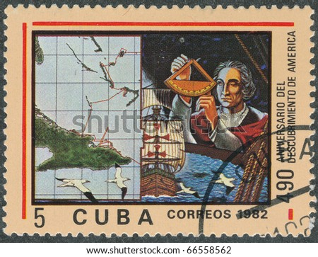 "CUBA - CIRCA 1982: A Stamp printed in  Cuba shows image Voyages of Columbus  from series ""The Anniversary Discovery of America"",  circa 1982"