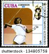 "CUBA - CIRCA 1980: A stamp printed in CUBA shows Javelin throwing, with inscription and name of series ""XXII Olympic Games in Moscow, 1980"", circa 1980 - stock photo"