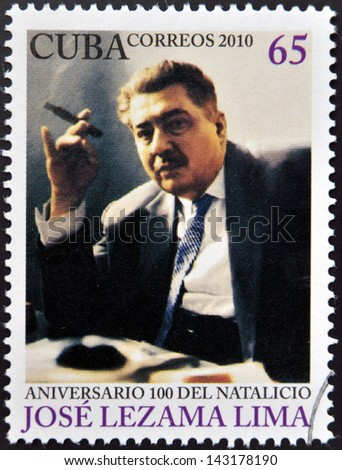 CUBA - CIRCA 2010: A stamp printed in Cuba shows Jose Lezama Lima, circa 2010 - stock photo