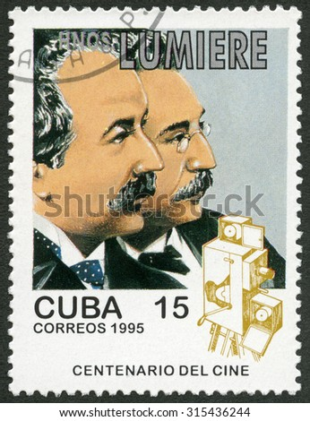 CUBA - CIRCA 1995: A stamp printed in Cuba shows Lumiere Brothers, Auguste Marie Louis Nicolas (1892-1954) and Louis Jean (1864-1948), series Century Motion Pictures, circa 1995 - stock photo