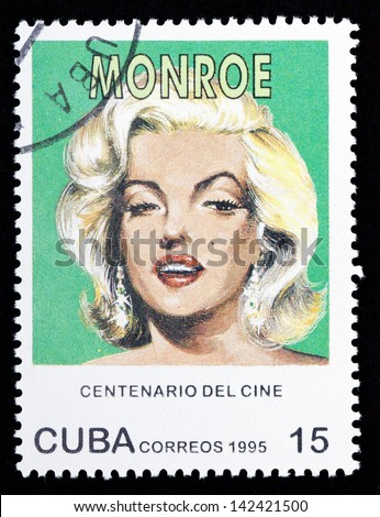 CUBA - CIRCA 1995: A stamp printed in Cuba shows Marilyn Monroe; series, circa 1995 - stock photo