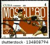 "CUBA - CIRCA 1979: A stamp printed in CUBA shows Olympic emblem and Boxing, with the inscription ""Moscow, 1980"", from the series ""XXII Olympic Games in Moscow, 1980"", circa 1979 - stock photo"