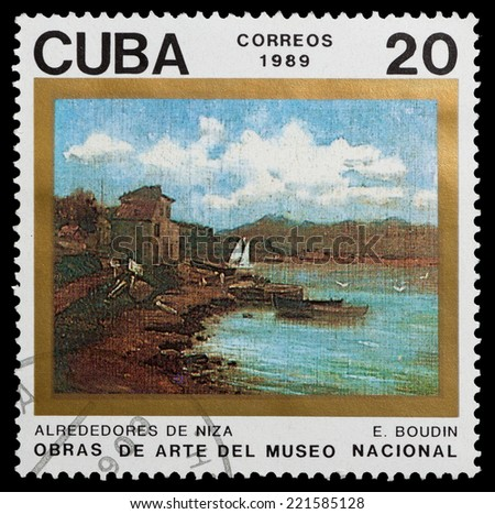 CUBA - CIRCA 1989: A stamp printed in Cuba, shows Outskirts of Nice by Eugene Louis Boudin, circa 1989.