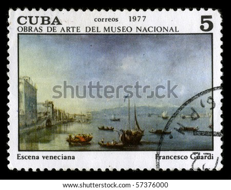 "CUBA - CIRCA 1977: A stamp printed in CUBA shows paint by Francesco Guardi ""Type Venice"" circa 1977."