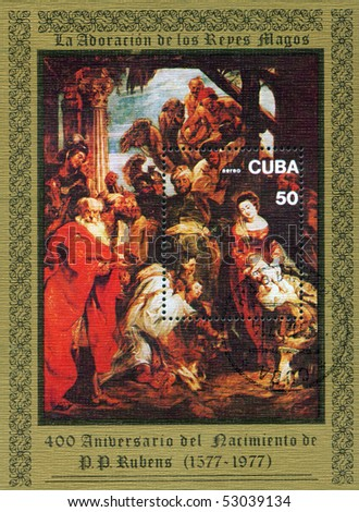 "CUBA - CIRCA 1977: A stamp printed in Cuba shows painting by Peter Paul Rubens ""Adoration of Magy"", circa 1977"