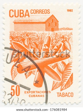 CUBA - CIRCA 1982: A stamp printed in Cuba shows plantation and cigars, circa 1982 - stock photo