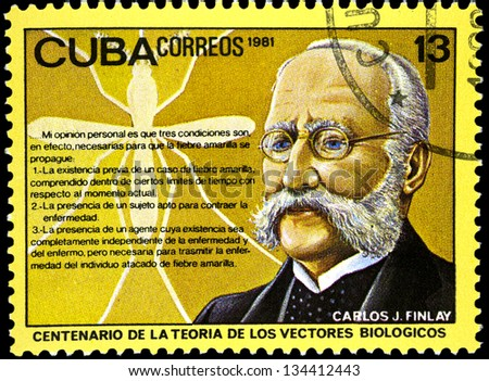 "CUBA - CIRCA 1981: A stamp printed in Cuba shows portrait of Finlay (malaria researcher), with inscription and name of series ""Centenary of Theory of Biological Vectors (Finlay)"", circa 1981"