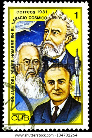 "CUBA - CIRCA 1981: A stamp printed in Cuba shows portrait of Jules Verne, Konstantin Tsiolkovsky and Sergei Korolev, inscription and name of series ""XX Anniversary of First Man in Space"", circa 1981"