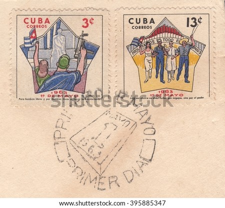 CUBA-CIRCA 1963:A stamp printed in Cuba,shows postage stamp Cuban people rejoice in the celebration of Labour Day on 1 May on the old mail envelope,circa 1963.