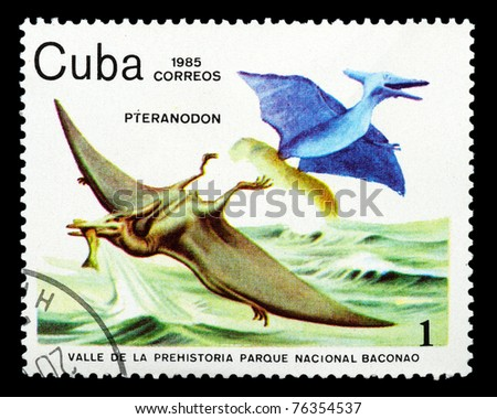 CUBA - CIRCA 1985: A stamp printed in Cuba shows Pteranodon, series devoted to prehistoric animals, circa 1985 - stock photo