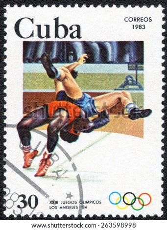 CUBA - CIRCA 1983: A stamp printed in CUBA, shows series Olympic Games in Los Angeles (1984), circa 1983 - stock photo