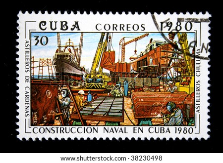 CUBA-CIRCA 1980: A stamp printed in CUBA shows Ship-building shipyard, circa 1980. Series