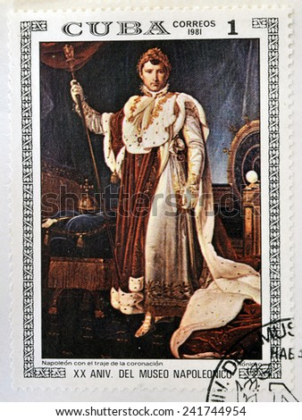 """CUBA - CIRCA 1981: A stamp printed in Cuba shows the """"Napoleon in Coronation Costume"""", anonymous, from the series """"Paintings in the Napoleon Museum"""", circa 1981  - stock photo"""