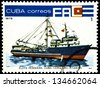 "CUBA - CIRCA 1978: A stamp printed in Cuba shows Tuna fishing boat, with the same inscription, from the series ""Fishing fleet of Cuba"", circa 1978. - stock photo"