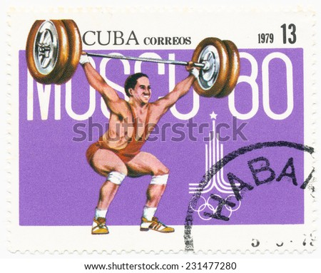 CUBA - CIRCA 1979: A stamp printed in Cuba shows weightlifter, Olympics in Moscow, circa 1979