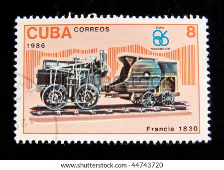 "CUBA - CIRCA 1986: A stamp printed in DPR Cuba shows Old locomotive (Francia 1830), circa 1986. ""The old steam locomotives' series"