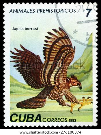 CUBA- CIRCA 1982: A stamp printed in , shows Aquila borrasi, Prehistoric Fauna, circa 1982 - stock photo