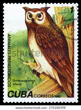 CUBA- CIRCA 1982: A stamp printed in , shows Ornimegalonyx oteroi, Prehistoric Fauna, circa 1982 - stock photo