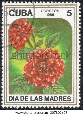 "CUBA - CIRCA 1985: A stamp printed in the CUBA, shows a series of images ""Garden flowers"", circa 1985"