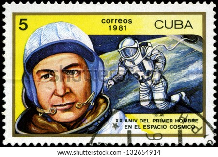 CUBA - CIRCA 1981: a stamp printed in the Cuba shows Aleksei A. Leonov, 1st Man to Walk in Space, 20th Anniversary of 1st Man in Space, circa 1981