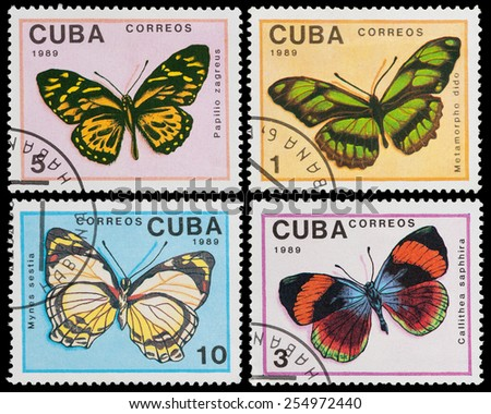 CUBA - CIRCA 1989: a stamp printed in the Cuba shows butterfly, circa 1989 - stock photo