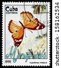 CUBA - CIRCA 1991: a stamp printed in the Cuba shows Danaid Eggfly, Hypolimnas Misippus, Butterfly, circa 1991 - stock photo