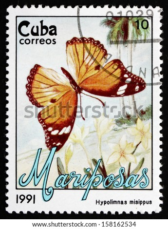 CUBA - CIRCA 1991: a stamp printed in the Cuba shows Danaid Eggfly, Hypolimnas Misippus, Butterfly, circa 1991