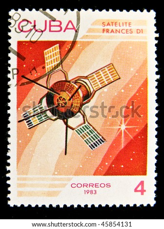 CUBA - CIRCA 1983: A stamp printed in the Cuba shows French space satellite, circa 1983 . Big space series