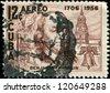 CUBA- CIRCA 1956: A stamp printed in the Cuba shows image of President Benjamin Franklin, circa 1956 - stock photo