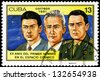 CUBA - CIRCA 1981: a stamp printed in the Cuba shows Konstantin Feoktistov, Boris Yegorov and Vladimir Komarev, Voskhod 1 Crew, 20th Anniversary of 1st Man in Space, circa 1981 - stock photo
